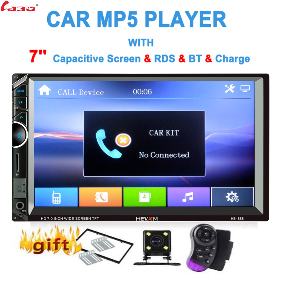 LaBo Car Multimedia Player with IOS Android Mirror Link Bluetooth Autoradio 2 Din 7 Touch Screen