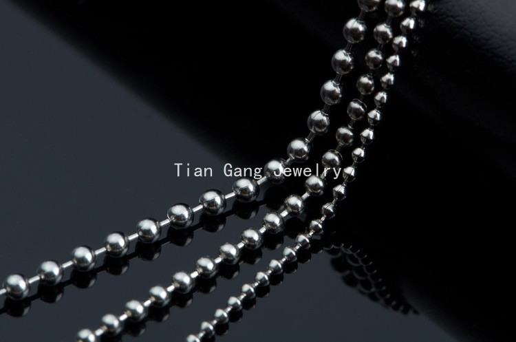 Black Silver Titanium Steel Ball Beads Chain Necklace Bead Connector Fashion OF