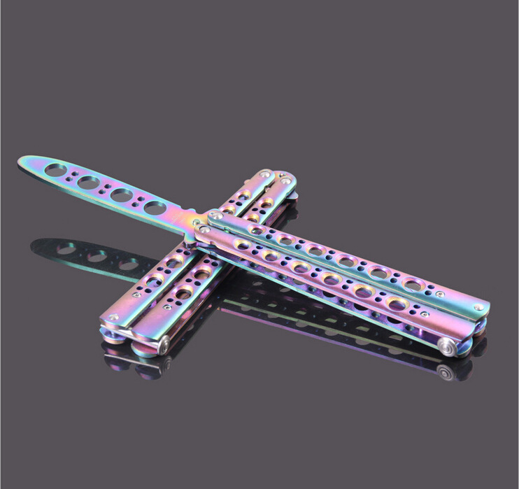 Multicolor titanium Butterfly Knife Training Knife font b toys b font Stainless Steel dull Flail knife
