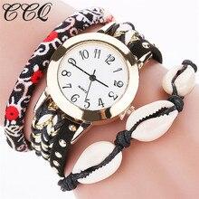 CCQ Vogue Gold Conch Braided Bracelet Watch Ladies Informal Gown Quartz Watch Feminine Girls Wristwatch Relogio Feminino Reward C60