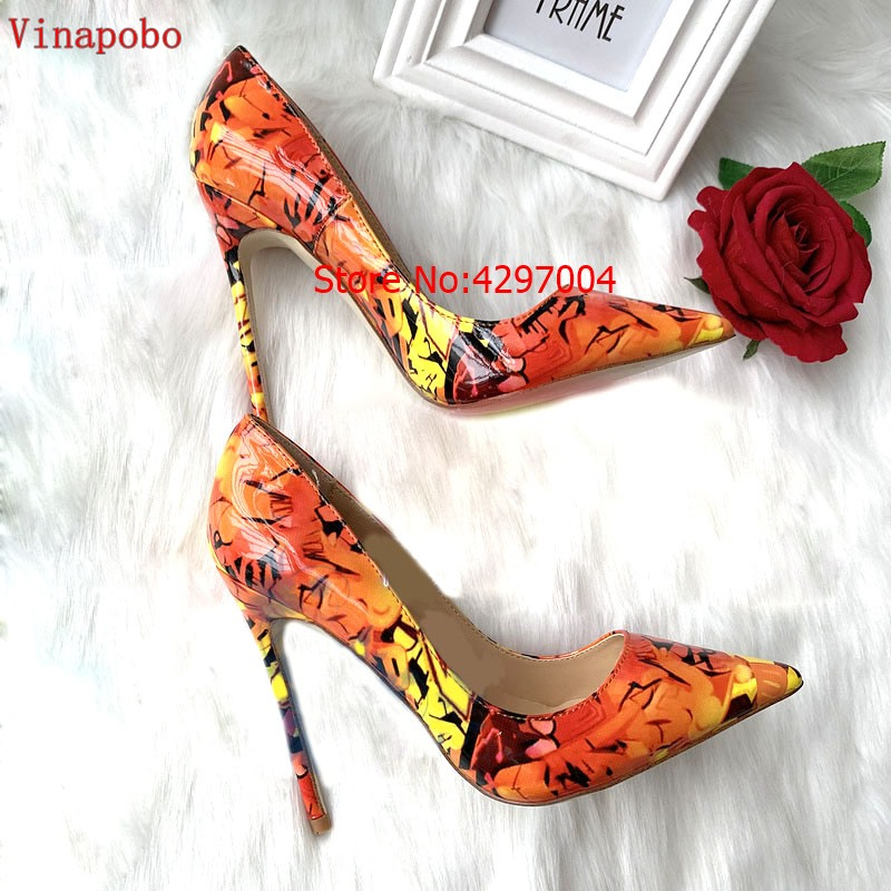 2019 Vinapobo Fashion Mixed Color Print Patent Leather Shoes Women Pumps Sexy Pointed Toe 12/10/8cm Thin Heel Party Shoes Yellow