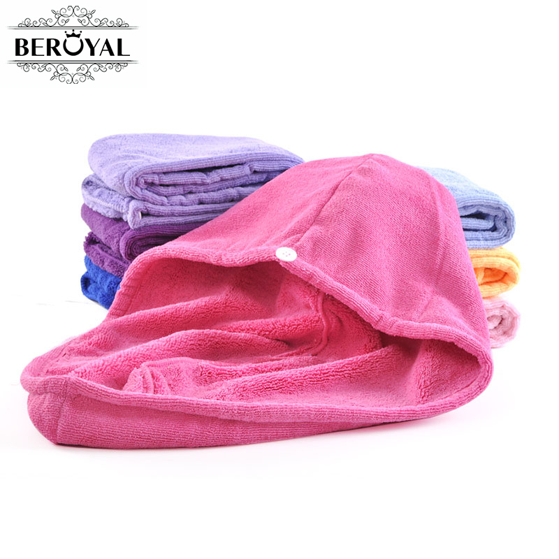 Beroyal Brand New 2019 1 pz in microfibra Turbante Asciugatura dei capelli Tappi peluche in microfibra Wrap Quick Dry Magic asciugamano lussuoso assorbente