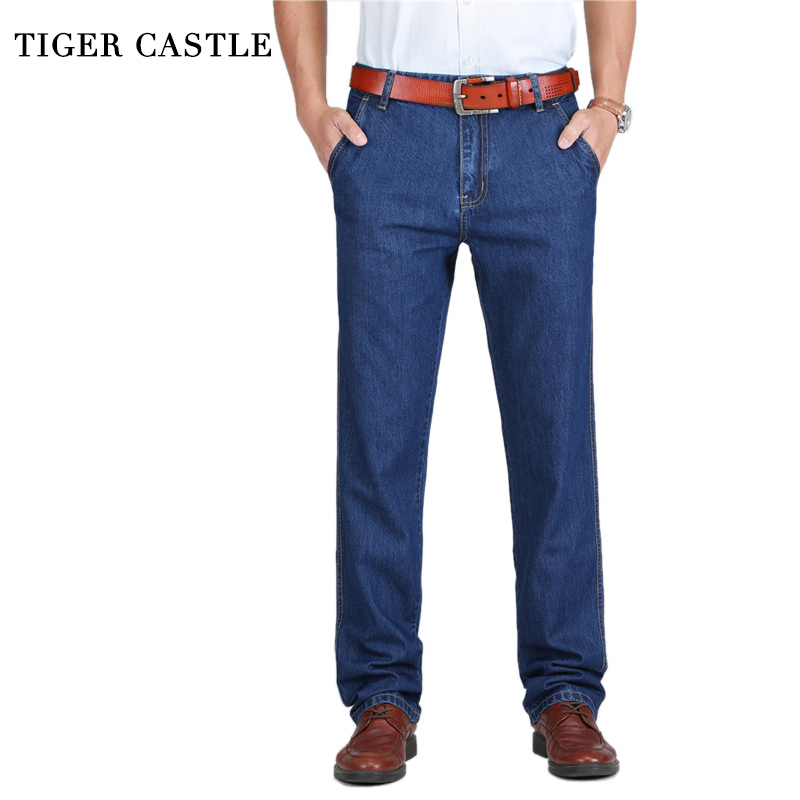 TIGER CASTLE 100% Cotton Spring Summer Men Jeans Liten Classic Denim Byxor Man Washed Baggy Blue Designer Causal Jeans Man
