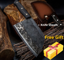 XYj couteau de boucher, fait main, couteau de cuisine de Chef, couperet en acier plaqué à haute teneur en carbone pour fileter, housse de couteau cadeau