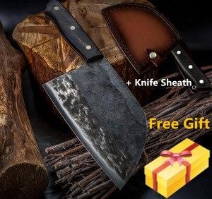 Image 1 - XYj couteau de boucher, fait main, couteau de cuisine de Chef, couperet en acier plaqué à haute teneur en carbone pour fileter, housse de couteau cadeau