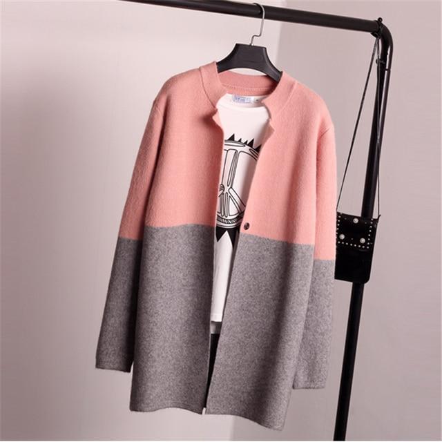 2016 Women Autumn Winter Jacket Coat Long Sleeve Slim Crochet Knit Women Sweater Cardigan Winter Tops C237