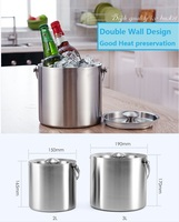 3L Stainless Steel Ice Bucket Wine Cooler Whisky Drink Wort Chiller With Portable Handle Hot Sale