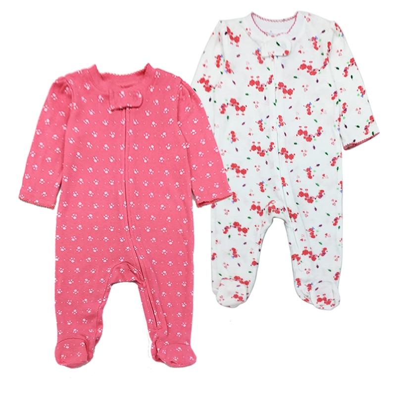 3-12 Months Newborn Baby Girl Boy Romper 2 Pack Long Sleeve Jumpsuit Cute Print Autumn Infant Clothes stylish scoop neck half sleeve argyle print women s romper
