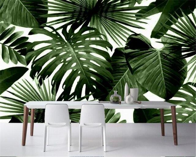 acheter beibehang classique r tro papier peint for t tropicale palm feuille de. Black Bedroom Furniture Sets. Home Design Ideas