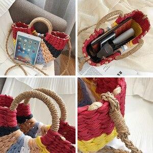 Image 5 - Mode Stroh Tasche Frauen der Sommer Rattan Tasche Handarbeit Gewebt Böhmen Strand Damen Handtaschen Wicker Reise Schulter Tasche Große Tote tasche