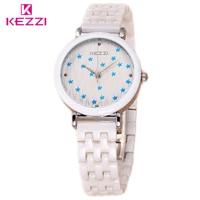 KEZZI Brand Lady Luxurious White Ceramic Quartz Watch Luxury Fashion Female Watches Women Waterproof Wristwatch Girl