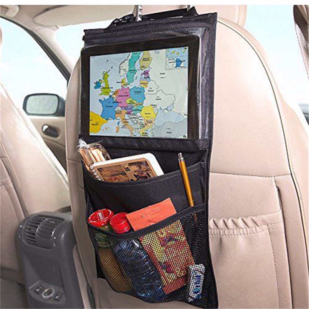 Auto Organizer Tablet Us 5 67 Car Organizer Back Seat Tablet Pc Stand Ipad Holder Car Backseat Storage Bag Multi Pocket Snack Debris Net Bag Black 50x29cm In Seat