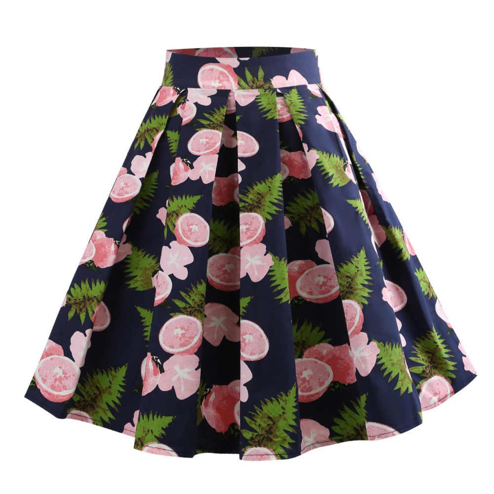 Kenancy Pink Lemon Print Summer Women Skirts Zipper Casual Cotton Skirts  5XL Feminino Skirts Audrey Hepburn afbc6f2ba72e