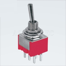 цена на 100PCS MTS-202R-A2 DPDT red ON-ON PCB terminals latching 6 pin toggle switch