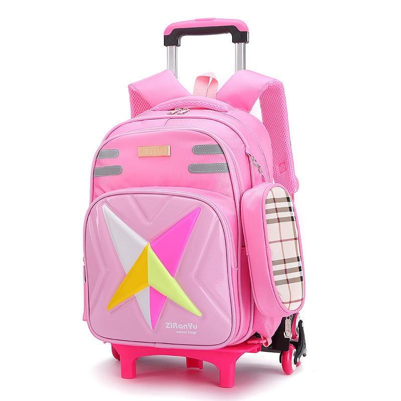 Kids Wheels Removable Trolley Backpack Wheeled Bags Children School Bag Boys Travel Bags Children's School Backpacks mochila