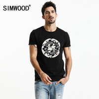 SIMWOOD 2017 Summer New T Shirts Men Shorts Sleeve 100 Pure Cotton Slim Fit Fashion Floral
