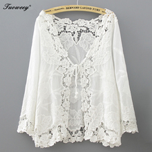 Blusa femenina de algodón con manga larga para verano, camisa sexy color blanco ahuecada para playa, Kimono, con cordones, 2020