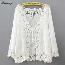 Cotton 2018 Fashion sexy Summer Hollow Out White Blouse Beach Kimono Cardigan Holiday Lace Up Tops Women Long Sleeve Crochet(China)