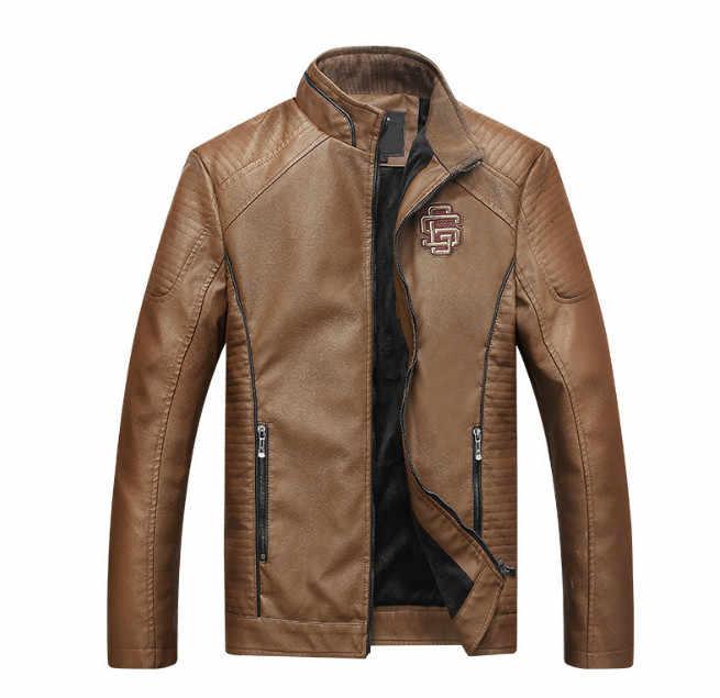 Новое поступление мужская кожаная куртка Модные мотоциклетные кожаные куртки мужские Куртки из искусственной кожи Верхняя одежда Пальто из искусственной кожи jaqueta de couro