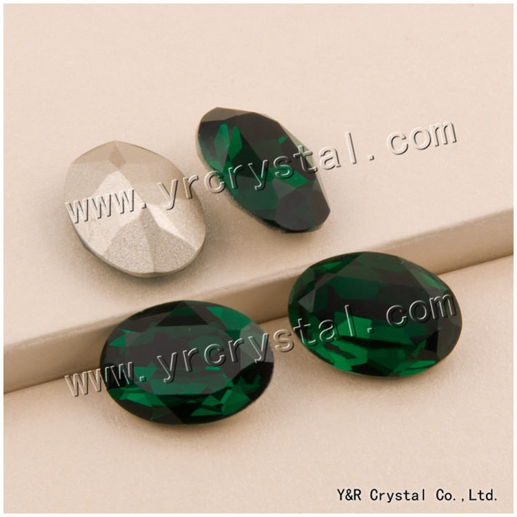 #4120 10*14mm 13*18mm 18*25mm  Oval Fancy Crystal Pointed Back Emerald 3d Nail Art crystal decorations rhinestones 10 18