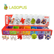 lagopus 7Pcs Super Brain Teaser Set Metal Puzzle Magic Cube Kong Ming Lock Enlightenment Education Puzzle Toy for Children super brain