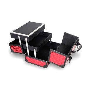 Image 3 - Valise de rangement de grande capacité pour voyage avec miroir, cadre en alliage daluminium, boîtier organisateur de maquillage pour femmes