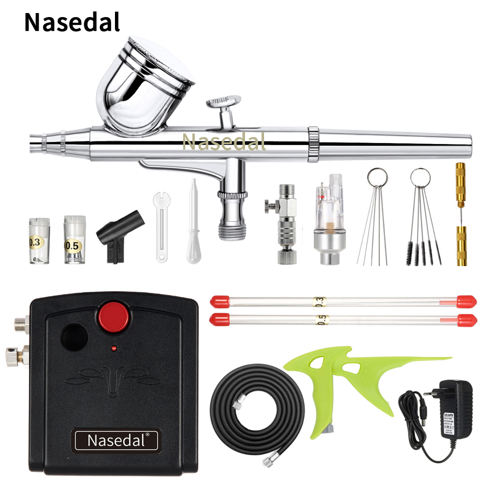 Nasedal NT-13 Dual-Action Spray Gun Airbrush Compressor Makeup Nail Tattoo Model/Cake/Car paint with Cleaning Tool Mini Filter