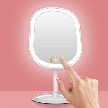 Mesa De Tocador Iluminada   LED Smart Touch Sensor Maquillaje Luces De Tocador Con Espejo USB Carga Lámparas De Mesa Portátiles Escritorio Vestidor Espejo 275*145*130mm