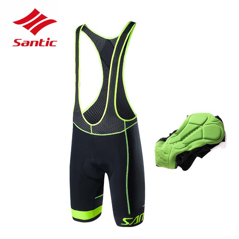 все цены на 2018 Men Santic Cycling Bib Shorts Racing Tour De France Pro Padded Bike Shorts MTB Road Riding Bicycle Shorts Maillot Ciclismo онлайн