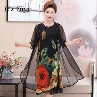 It's Yiiya Mother of the Bride Dresses Plus Size Chiffon O Neck Flower Pattern 2 piece set Elegant Mother Dress M007