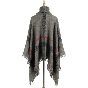 Hiawatha 2018 Long Turtleneck Cloak Knit Women Loose Plus Size Pullover Fashion Tassel Sweater M110 6