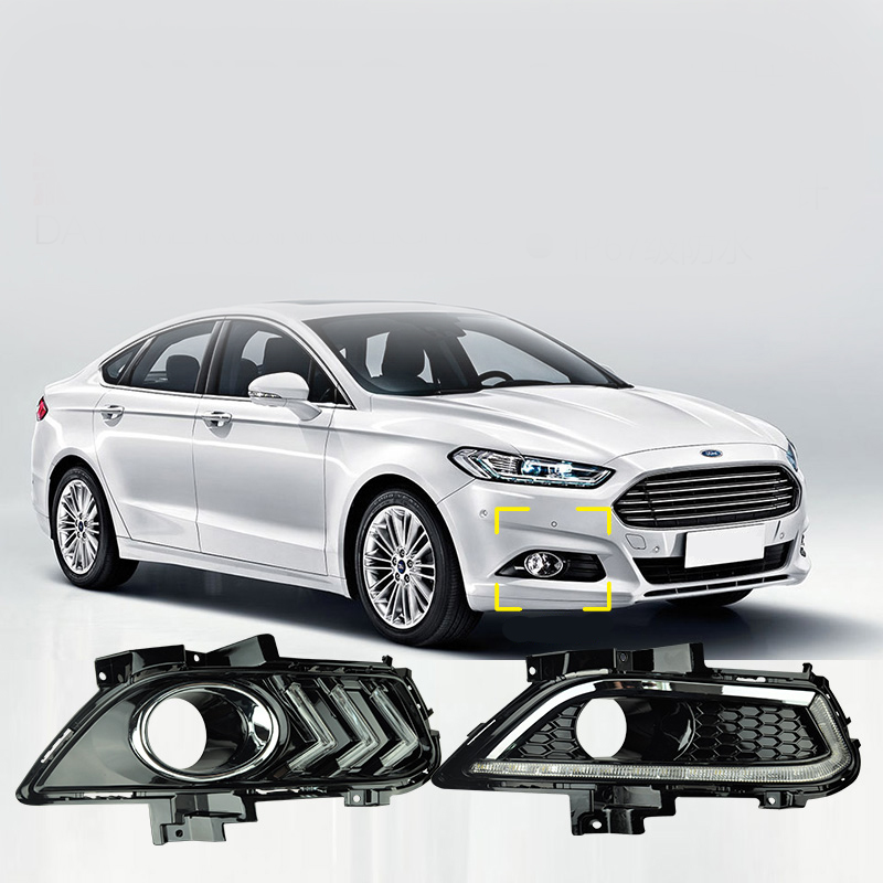 1Pair Car DRL LED for Fords Mondeo Fusion 2013 - 2017 Daytime Running Light With Turning Yellow Signal Relay with Fog Lamp Cover super bright led drl daytime running light for 2013 16 ford mondeo fusion fog lamp with dimmer function and yellow turn signals