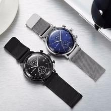 Mode Simple Élégant Top Marque De Luxe GIMTO Montres Hommes En Acier Inoxydable Maille Bracelet À Quartz-montre Mince Cadran Horloge Homme 2017