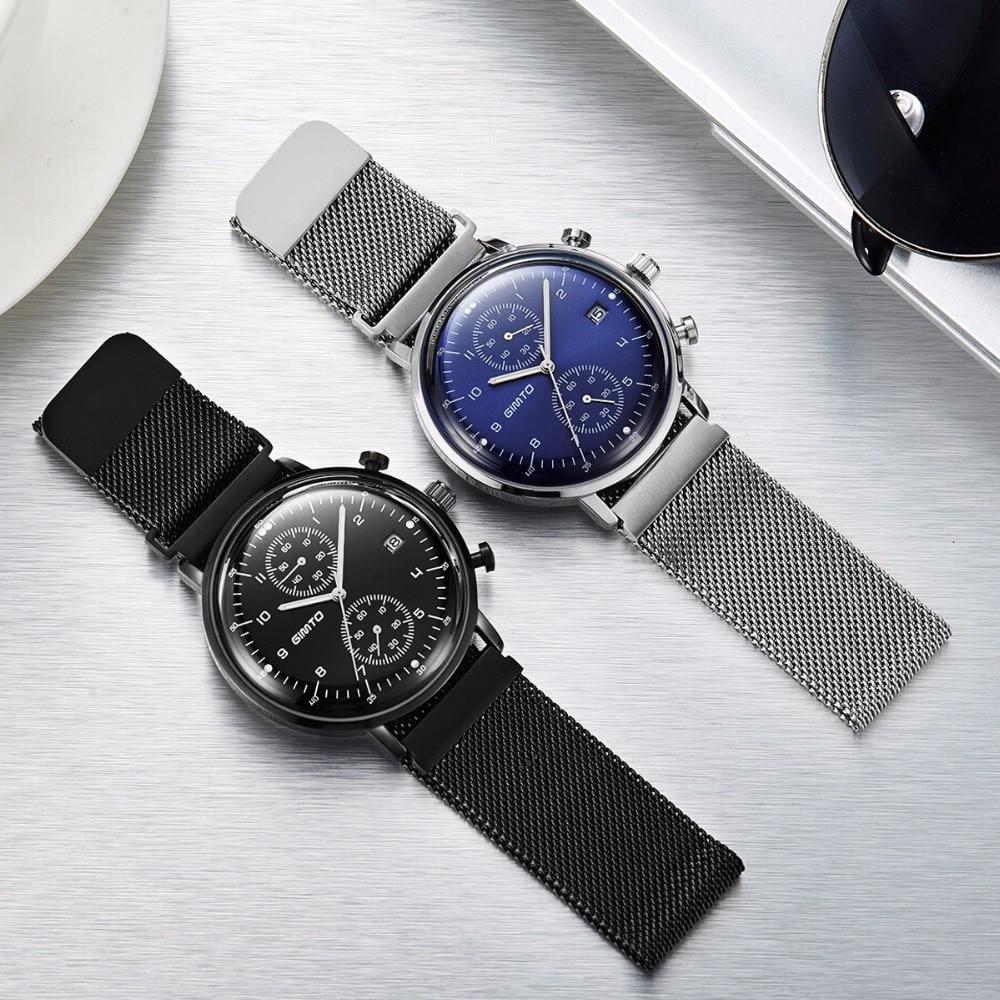 Fashion Simple Stylish Top Luxury Brand GIMTO Watches Men Stainless Steel Mesh Strap Quartz-watch Thin Dial Clock Man 2017