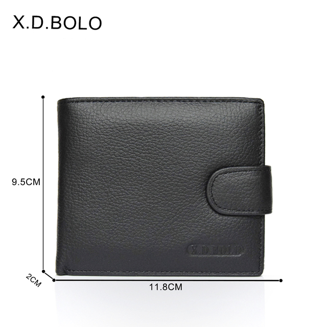 X.D.BOLO Wallet Men Leather Genuine Cow Leather Man Wallets With Coin Pocket Man Purse leather Money Bag Male Wallets