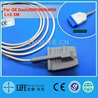 Long cable adult soft silicone spo2 sensor for GE dash2000,3000,4000  patient monitor