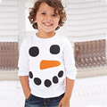 2016 New Snowman Christmas Kids Clothes Hot Fashion Boys T Shirt Designer Toddler Baby Boys Clothes Cotton Long Sleeve Tee Shirt