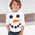 2016 Nuevo Muñeco de nieve de Navidad Ropa de Los Cabritos Muchachos de La Manera Caliente camisa de Diseñador de la Ropa Del Niño de Los Bebés de Algodón de Manga Larga Camiseta camisa