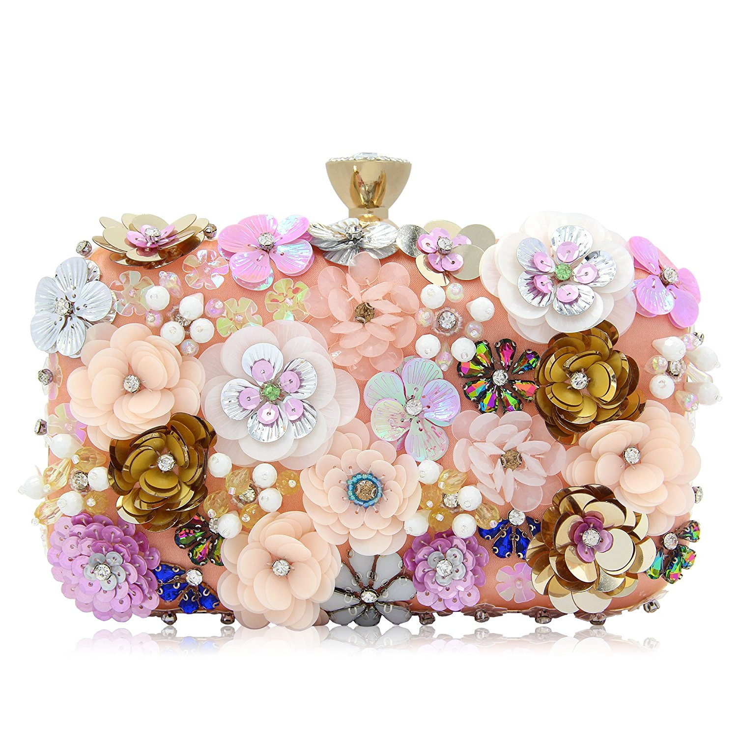 FGGS Women Clutches Colorful Flower Evening Bag Sequins Satin Evening ClutchFGGS Women Clutches Colorful Flower Evening Bag Sequins Satin Evening Clutch