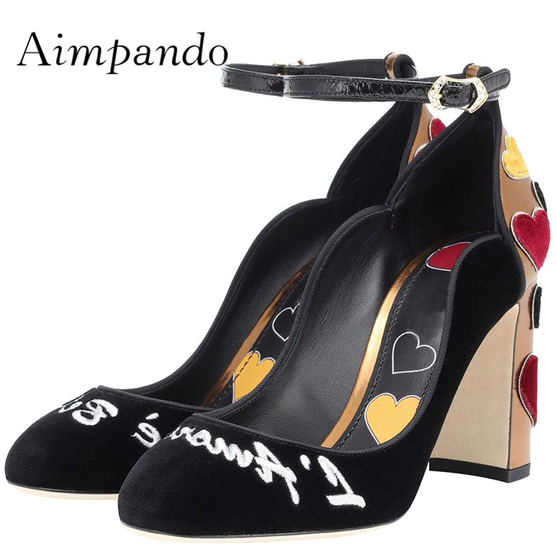 d83250a7645610 Newest Luxury Velvet High Heel Shoes Woman Round Toe Red Heart Ankle Strap  High Quality Pumps