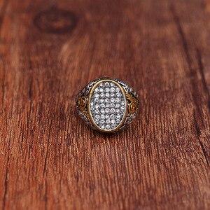 Image 4 - Новый дизайн, винтажное этническое античное мусульманское кольцо на палец с большой шириной из сплава серебряного цвета, мужское мусульманское кольцо, ювелирные изделия