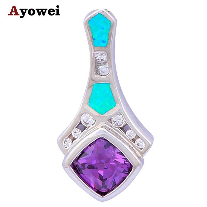 30cbdd255a35 Moda joyería mujer hermosa Collares Fuego Azul OPAL cristal sello Collares  Colgantes op300