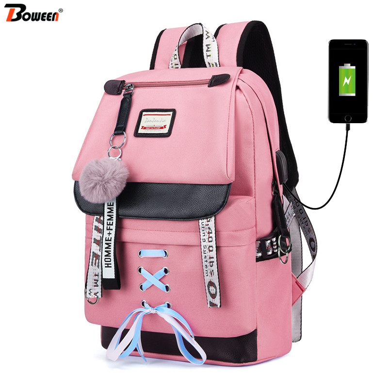 Pink USB Backpacks Women School Backpack For Teenage Girls School Bag Large Canvas Middle High College Student Bagpack 2019 New