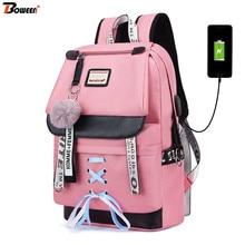 Pink USB Backpacks Women School Backpack for Teenage Girls School Bag Large Canv
