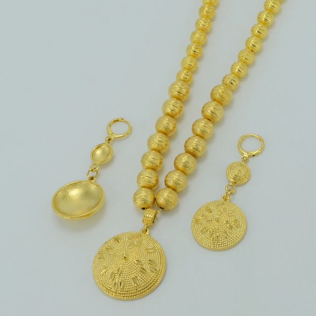 Beads Necklace Earrings For Women,- Gold Plated Ethiopian Jewelry sets Eritrea Africa Prayer Beads Ball Necklaces Arab #033606