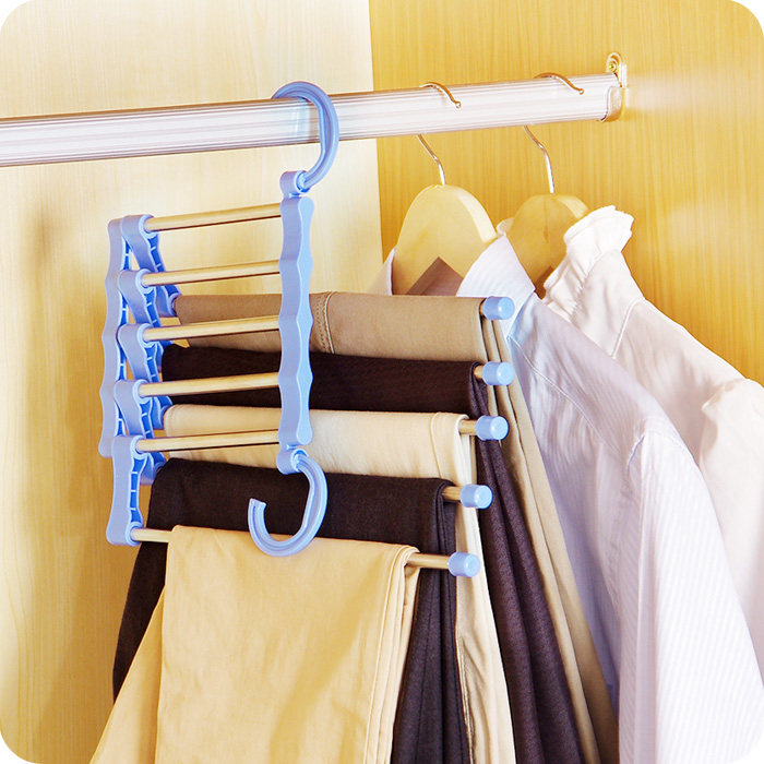 Clothes Hanger Belt Ties Hanger Holder Multi Functional Magic Non Slip Trousers Rack Five In One Telescopic Multi Layer Rack in Storage Holders Racks from Home Garden