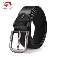 DINISITON High Quality Genuine Leather Belt For Male Formal Style Cowboy Designer Belts Pin Buckle Vintage