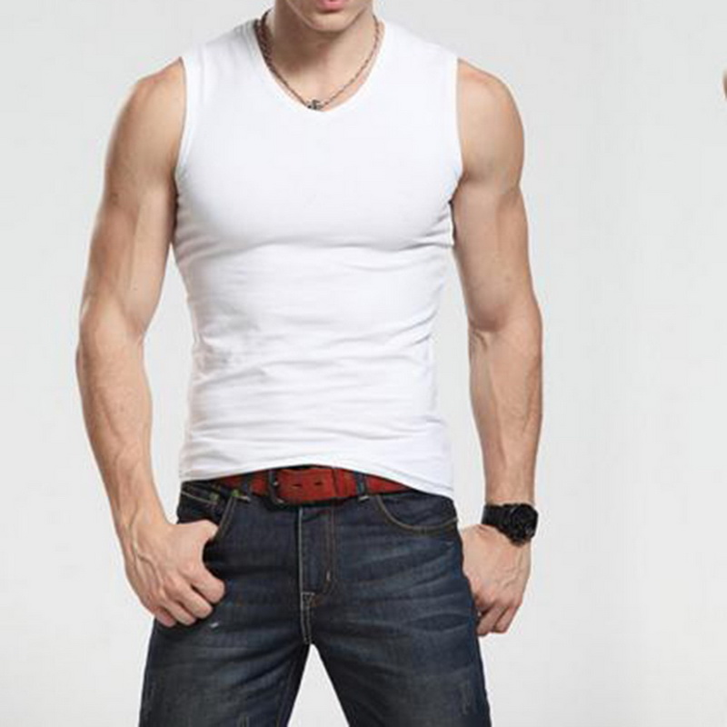running - 2019 Men Tank Top Solid Singlet Bodybuilding Gym Clothes Running Vest Sleeveless Workout Fitness quality Male T Shirt