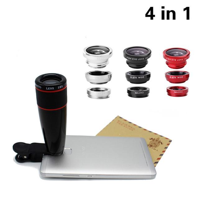 Teléfono de alta Calidad Kit de Lentes Telefoto 12X Lentes Clip 3 en 1 lentes de ojo de pez de gran angular macro ojo de pez para iphone 6 6 s 7 xiaomi