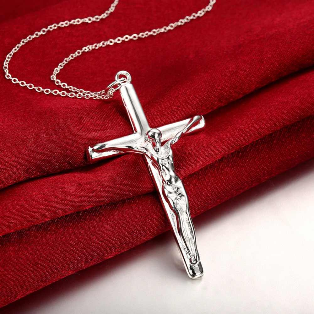 Fashion Jewelry Wholesale 925 Silver Necklace, Men's Cross Silver Pendant, Geometric Modeling Silver Necklace, P079